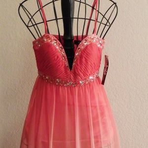 JUMP Sexy Pink Color Dip Long Maxi Prom Dress 3/4